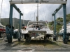 Alegria being moved to the boatyard. Nanny Cay, BVI